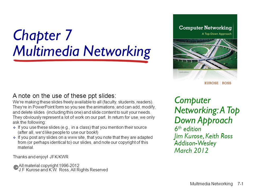 CDN: simple content access scenario Multmedia Networking 7-22 Bob (client) requests video http://netcinema.com /6Y7B23V  video stored in CDN at http://KingCDN.com/NetC6y&B 23V netcinema.com KingCDN.com 1 1.