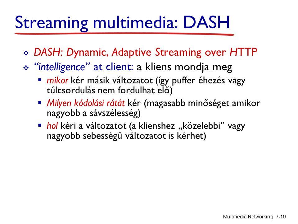 """Streaming multimedia: DASH  DASH: Dynamic, Adaptive Streaming over HTTP  intelligence at client: a kliens mondja meg  mikor kér másik változatot (így puffer éhezés vagy túlcsordulás nem fordulhat elő)  Milyen kódolási rátát kér (magasabb minőséget amikor nagyobb a sávszélesség)  hol kéri a változatot (a klienshez """"közelebbi vagy nagyobb sebességű változatot is kérhet) Multmedia Networking 7-19"""