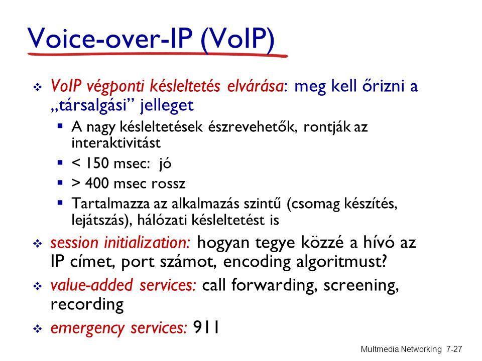 """Voice-over-IP (VoIP) Multmedia Networking 7-27  VoIP végponti késleltetés elvárása: meg kell őrizni a """"társalgási jelleget  A nagy késleltetések észrevehetők, rontják az interaktivitást  < 150 msec: jó  > 400 msec rossz  Tartalmazza az alkalmazás szintű (csomag készítés, lejátszás), hálózati késleltetést is  session initialization: hogyan tegye közzé a hívó az IP címet, port számot, encoding algoritmust."""
