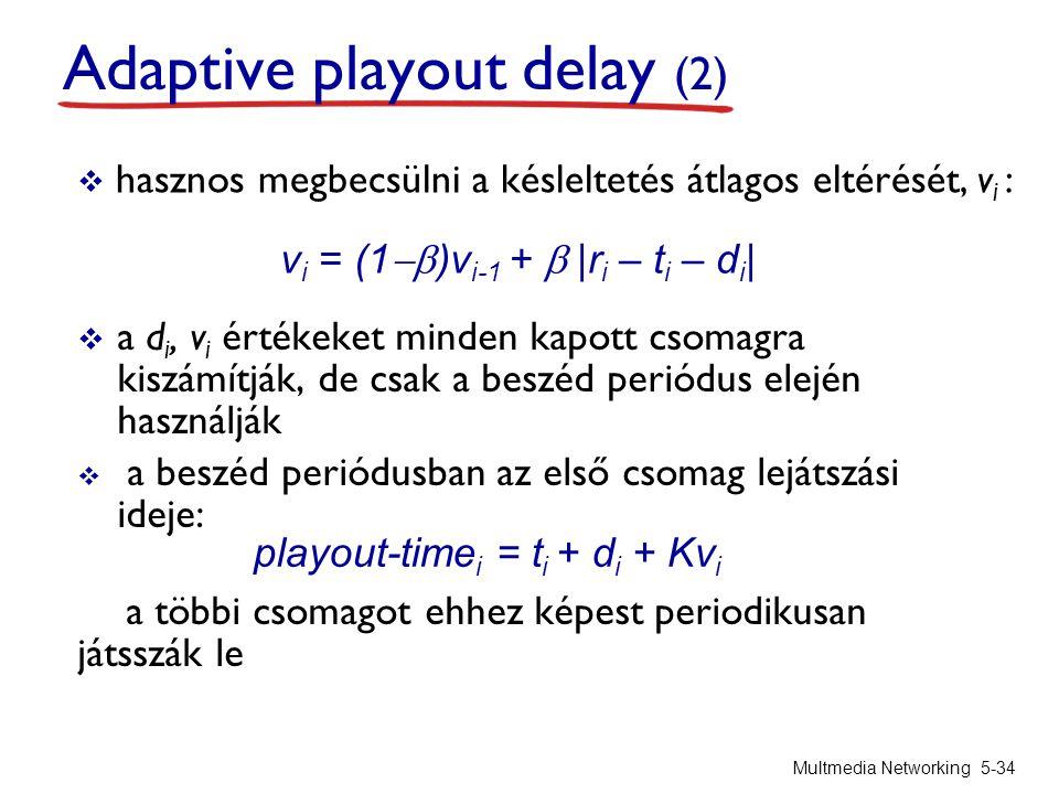  hasznos megbecsülni a késleltetés átlagos eltérését, v i :  a d i, v i értékeket minden kapott csomagra kiszámítják, de csak a beszéd periódus elején használják  a beszéd periódusban az első csomag lejátszási ideje: a többi csomagot ehhez képest periodikusan játsszák le Multmedia Networking 5-34 v i = (1  )v i-1 +   r i – t i – d i   playout-time i = t i + d i + Kv i Adaptive playout delay (2)