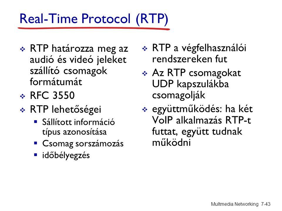 Real-Time Protocol (RTP)  RTP határozza meg az audió és videó jeleket szállító csomagok formátumát  RFC 3550  RTP lehetőségei  Sállított információ típus azonosítása  Csomag sorszámozás  időbélyegzés  RTP a végfelhasználói rendszereken fut  Az RTP csomagokat UDP kapszulákba csomagolják  együttműködés: ha két VoIP alkalmazás RTP-t futtat, együtt tudnak működni Multmedia Networking 7-43