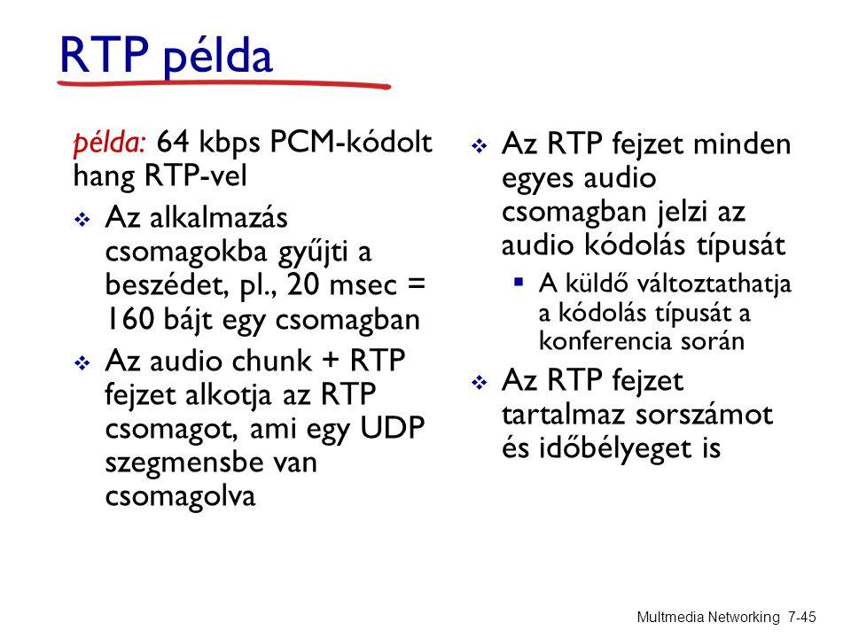 RTP példa példa: 64 kbps PCM-kódolt hang RTP-vel  Az alkalmazás csomagokba gyűjti a beszédet, pl., 20 msec = 160 bájt egy csomagban  Az audio chunk + RTP fejzet alkotja az RTP csomagot, ami egy UDP szegmensbe van csomagolva  Az RTP fejzet minden egyes audio csomagban jelzi az audio kódolás típusát  A küldő változtathatja a kódolás típusát a konferencia során  Az RTP fejzet tartalmaz sorszámot és időbélyeget is Multmedia Networking 7-45