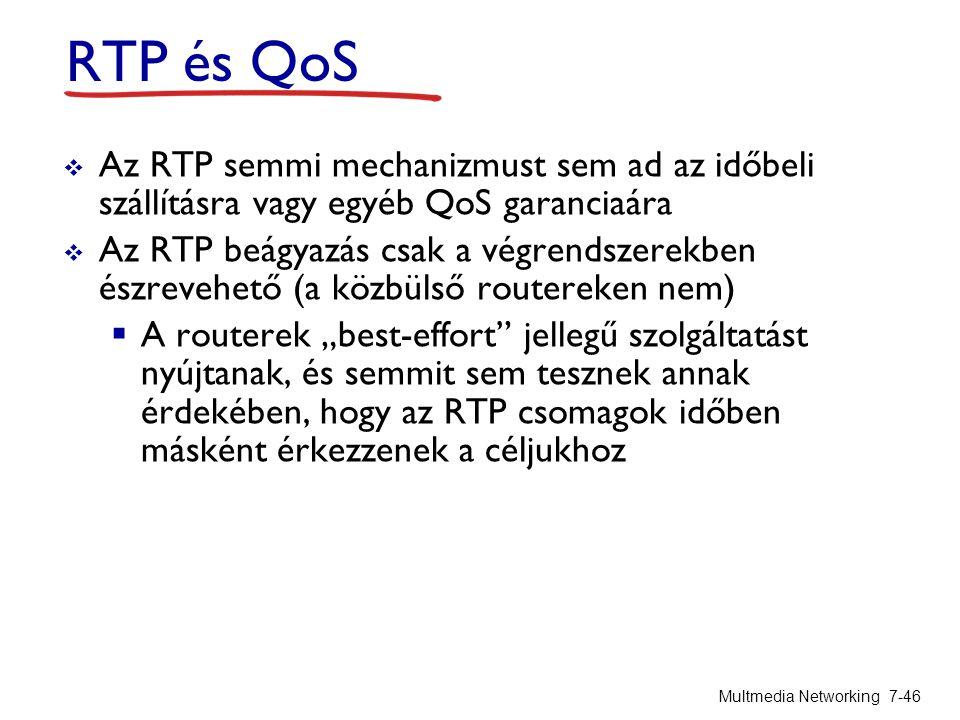 RTP és QoS  Az RTP semmi mechanizmust sem ad az időbeli szállításra vagy egyéb QoS garanciaára  Az RTP beágyazás csak a végrendszerekben észrevehető