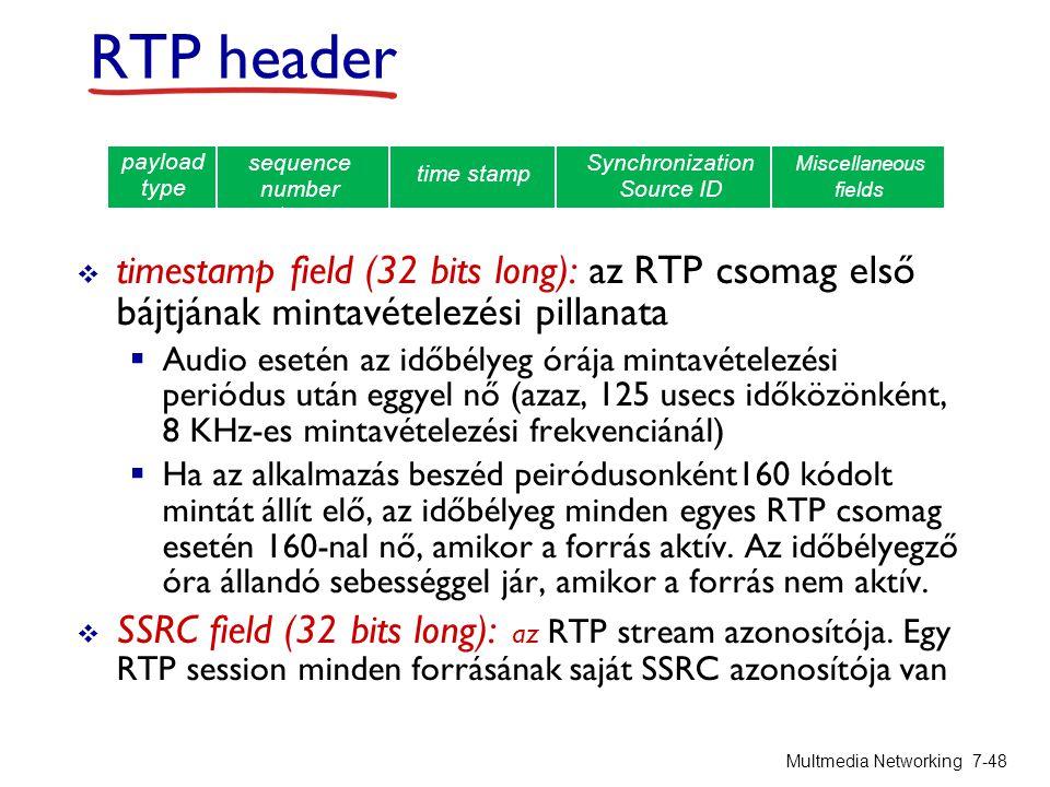 timestamp field (32 bits long): az RTP csomag első bájtjának mintavételezési pillanata  Audio esetén az időbélyeg órája mintavételezési periódus után eggyel nő (azaz, 125 usecs időközönként, 8 KHz-es mintavételezési frekvenciánál)  Ha az alkalmazás beszéd peiródusonként160 kódolt mintát állít elő, az időbélyeg minden egyes RTP csomag esetén 160-nal nő, amikor a forrás aktív.