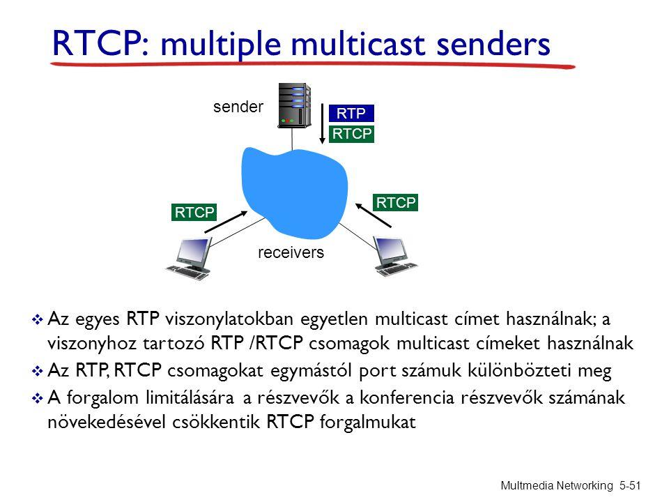 RTCP: multiple multicast senders  Az egyes RTP viszonylatokban egyetlen multicast címet használnak; a viszonyhoz tartozó RTP /RTCP csomagok multicast címeket használnak  Az RTP, RTCP csomagokat egymástól port számuk különbözteti meg  A forgalom limitálására a részvevők a konferencia részvevők számának növekedésével csökkentik RTCP forgalmukat Multmedia Networking 5-51 RTCP RTP RTCP sender receivers