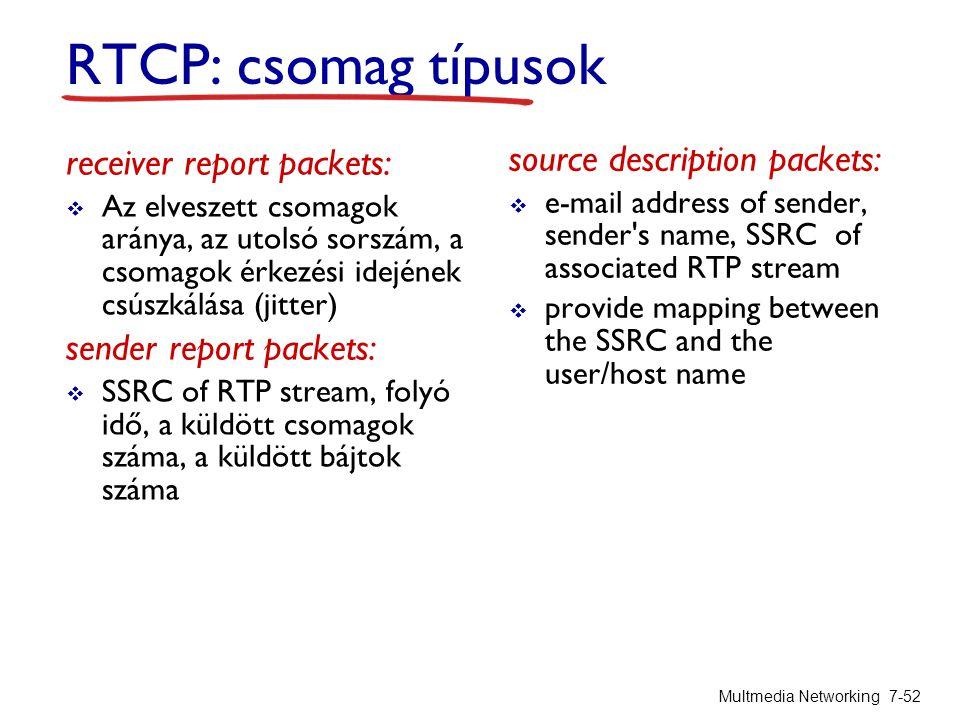 RTCP: csomag típusok receiver report packets:  Az elveszett csomagok aránya, az utolsó sorszám, a csomagok érkezési idejének csúszkálása (jitter) sender report packets:  SSRC of RTP stream, folyó idő, a küldött csomagok száma, a küldött bájtok száma source description packets:  e-mail address of sender, sender s name, SSRC of associated RTP stream  provide mapping between the SSRC and the user/host name Multmedia Networking 7-52