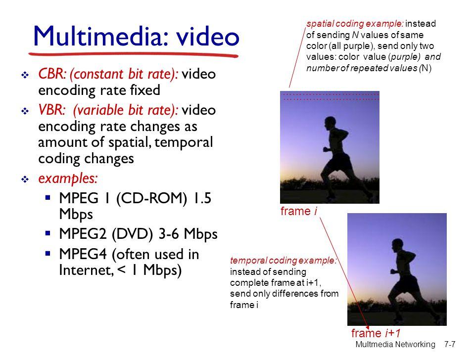 Multimedia networking: 3 alkalmazás típus Multmedia Networking 7-8  streaming, stored audio, video  streaming: a lejátszás az egész fájl letöltése előtt elindítható  stored (at server): a lejátszási sebességnél gyorsabban is adhatjuk az audio/video anyagot (feltételezi a kliens oldali pufferelést)  e.g., YouTube, Netflix, Hulu  conversational voice/video over IP  Az ember-ember közötti társalgási jelleg korlátozza az elviselhető késleltetést  e.g., Skype  streaming live audio, video  pl., sportesemény, videokonferencia