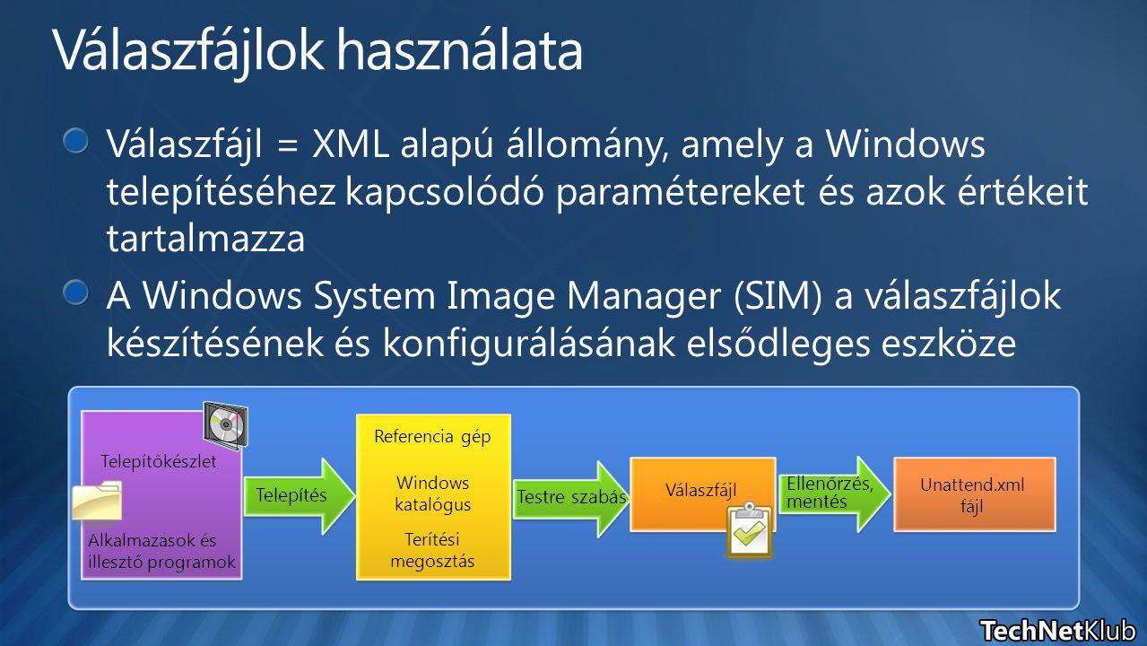 Telepítés Testre szabás Ellenőrzés, mentés Referencia gép Válaszfájl Unattend.xml fájl Windows katalógus Terítési megosztás Telepítőkészlet Alkalmazás