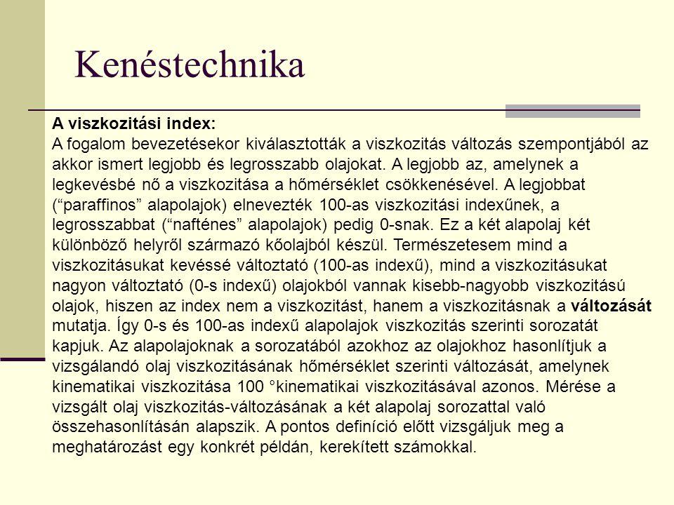 Kenéstechnika A viszkozitási index: A fogalom bevezetésekor kiválasztották a viszkozitás változás szempontjából az akkor ismert legjobb és legrosszabb