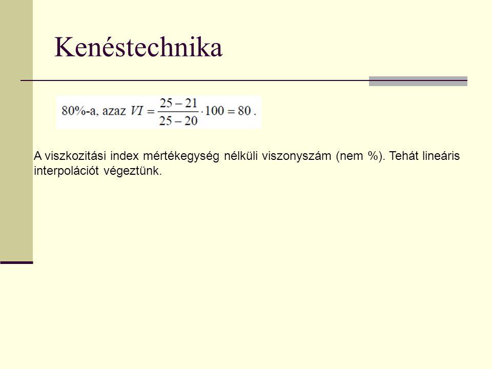 Kenéstechnika A viszkozitási index mértékegység nélküli viszonyszám (nem %). Tehát lineáris interpolációt végeztünk.