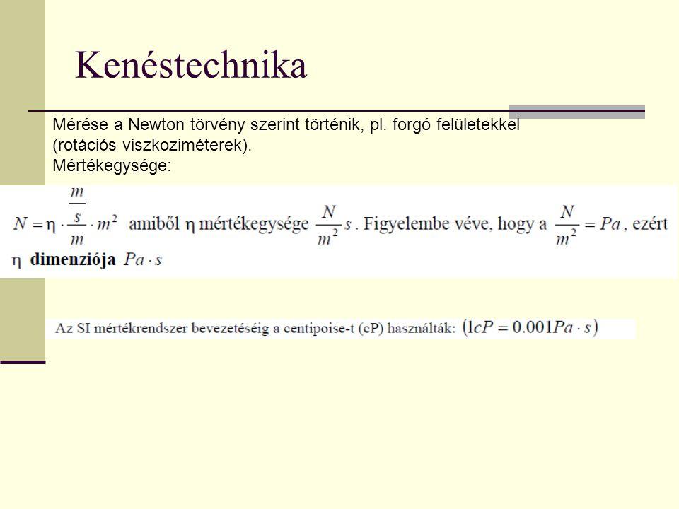 Kenéstechnika Mérése a Newton törvény szerint történik, pl. forgó felületekkel (rotációs viszkoziméterek). Mértékegysége: