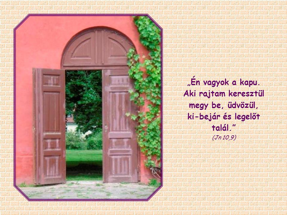 """""""Én vagyok a kapu. Aki rajtam keresztül megy be, üdvözül, ki-bejár és legelőt talál. (Jn 10,9)"""