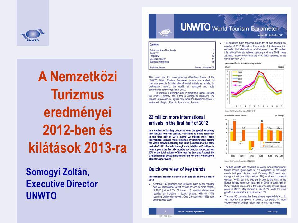 A Nemzetközi Turizmus eredményei 2012-ben és kilátások 2013-ra Somogyi Zoltán, Executive Director UNWTO