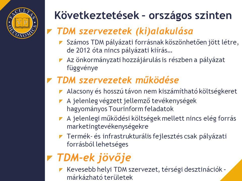 Következtetések – országos szinten TDM szervezetek (ki)alakulása Számos TDM pályázati forrásnak köszönhetően jött létre, de 2012 óta nincs pályázati k