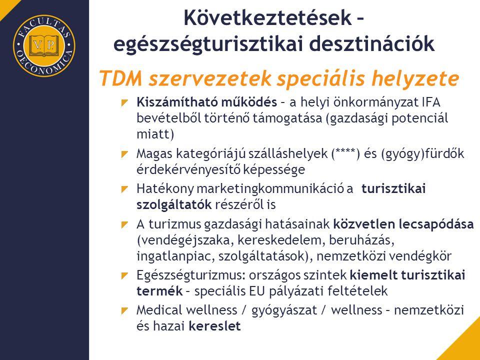 Következtetések – egészségturisztikai desztinációk TDM szervezetek speciális helyzete Kiszámítható működés – a helyi önkormányzat IFA bevételből törté