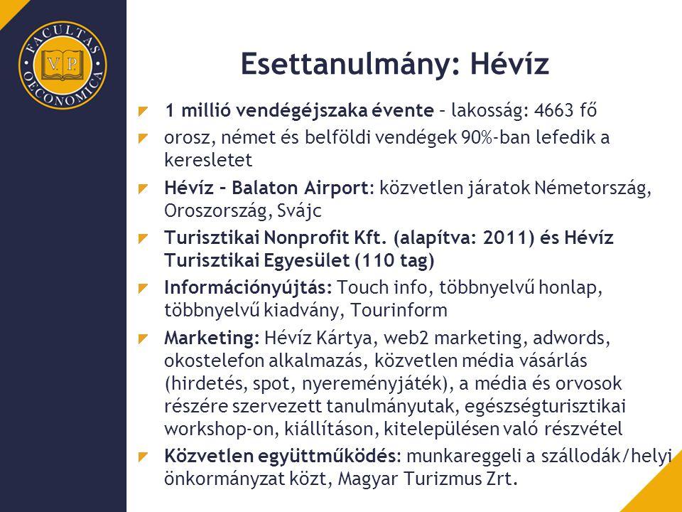 Esettanulmány: Hévíz 1 millió vendégéjszaka évente – lakosság: 4663 fő orosz, német és belföldi vendégek 90%-ban lefedik a keresletet Hévíz – Balaton