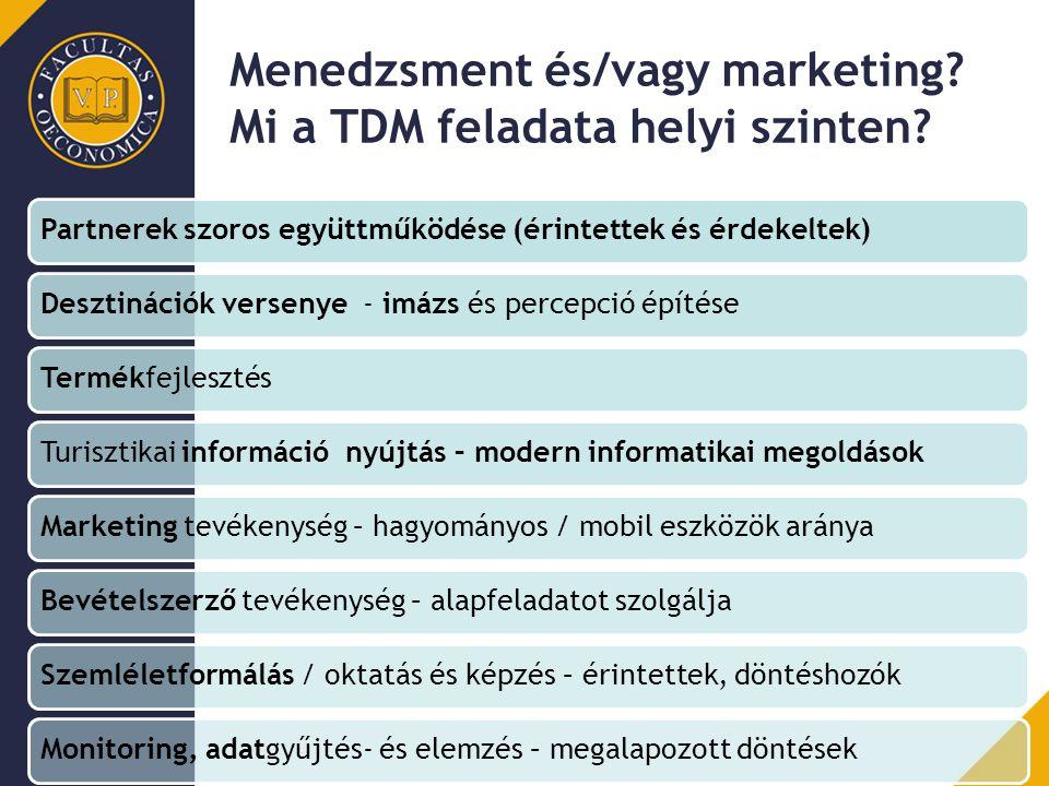 Menedzsment és/vagy marketing? Mi a TDM feladata helyi szinten? Partnerek szoros együttműködése (érintettek és érdekeltek)Desztinációk versenye - imáz