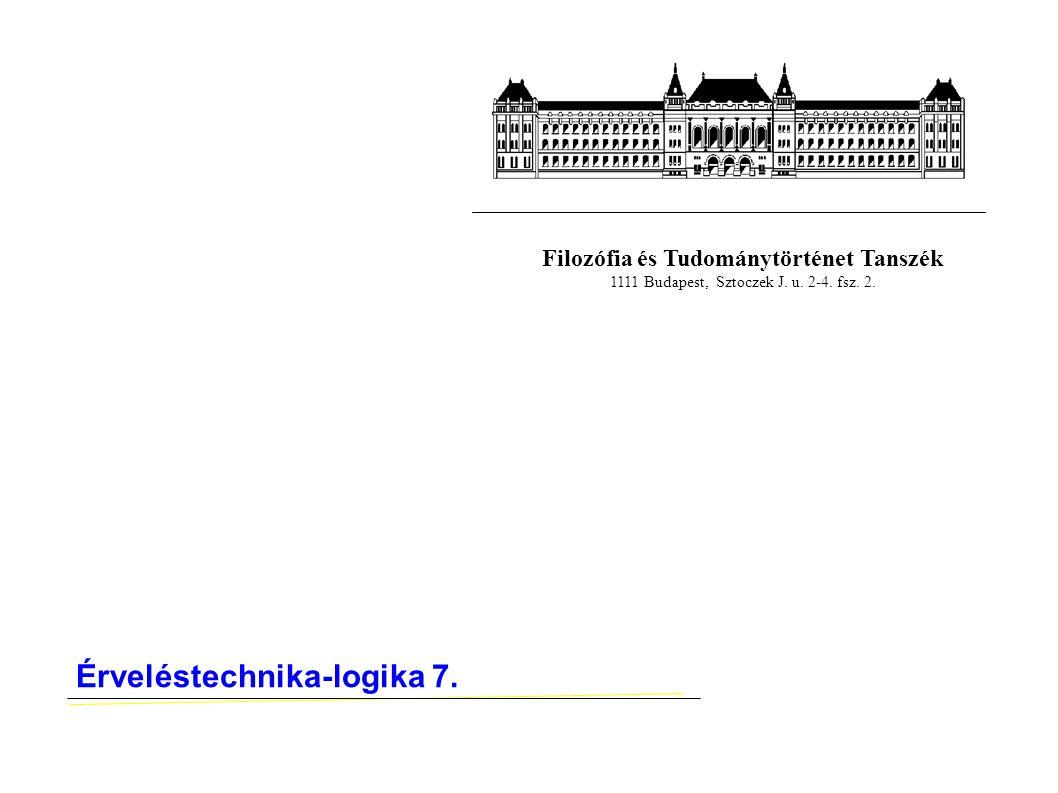 Filozófia és Tudománytörténet Tanszék 1111 Budapest, Sztoczek J. u. 2-4. fsz. 2. Érveléstechnika-logika 7.