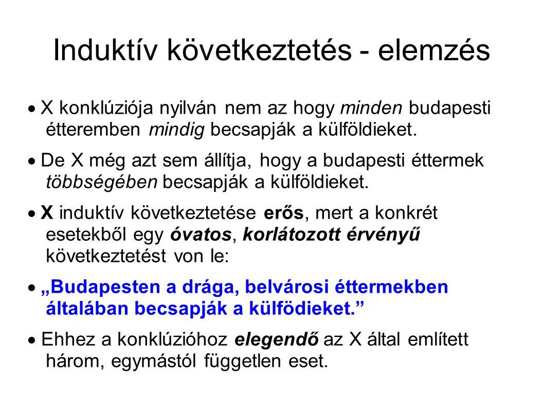Induktív következtetés - elemzés  X konklúziója nyilván nem az hogy minden budapesti étteremben mindig becsapják a külföldieket.  De X még azt sem