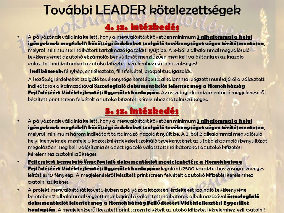 További LEADER kötelezettségek 4.sz.