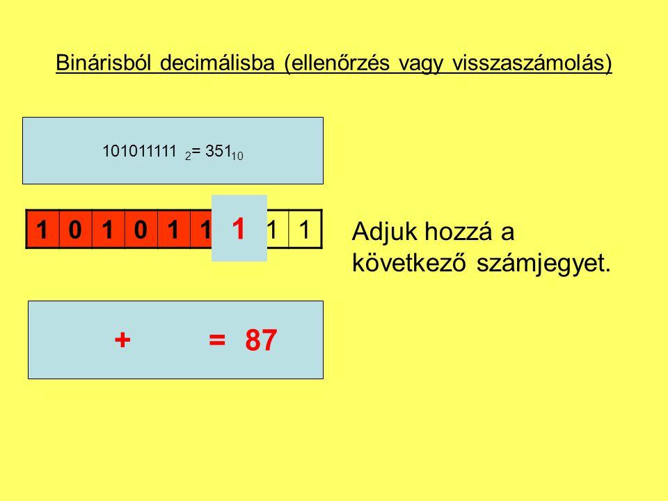 Binárisból decimálisba (ellenőrzés vagy visszaszámolás) Adjuk hozzá a következő számjegyet. 101011111 101011111 2 = 351 10 1 86+=87