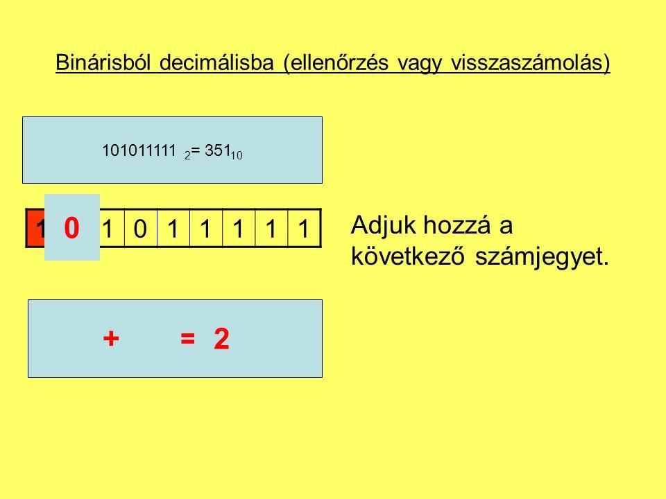 Binárisból decimálisba (ellenőrzés vagy visszaszámolás) Adjuk hozzá a következő számjegyet. 101011111 101011111 2 = 351 10 0 2+=2