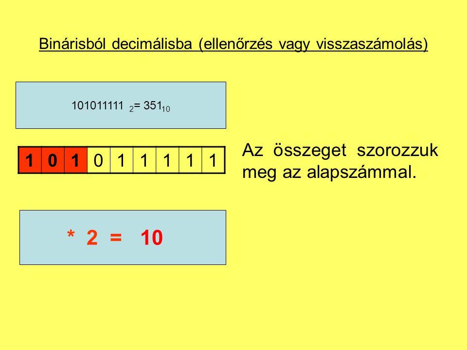 Binárisból decimálisba (ellenőrzés vagy visszaszámolás) Adjuk hozzá a következő számjegyet.