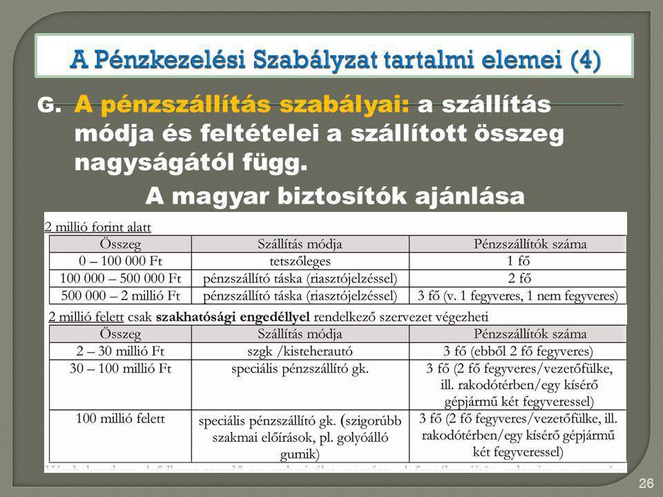G. A pénzszállítás szabályai: a szállítás módja és feltételei a szállított összeg nagyságától függ. A magyar biztosítók ajánlása 26