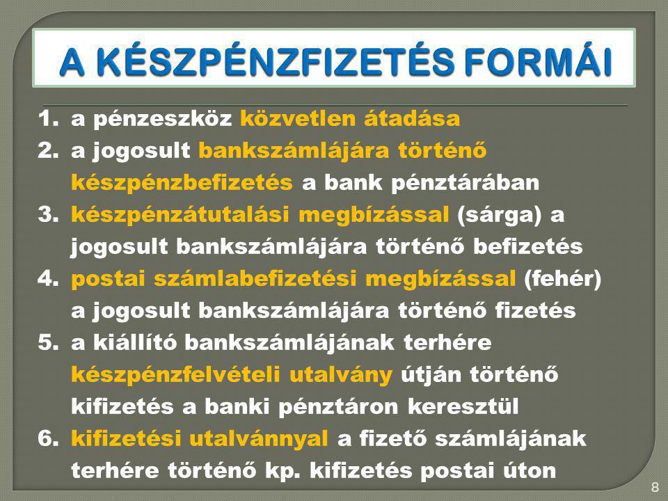 1.a pénzeszköz közvetlen átadása 2.a jogosult bankszámlájára történő készpénzbefizetés a bank pénztárában 3.készpénzátutalási megbízással (sárga) a jo