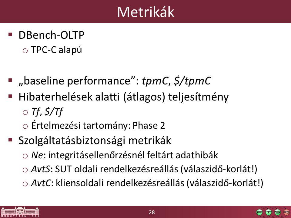 """28 Metrikák  DBench-OLTP o TPC-C alapú  """"baseline performance : tpmC, $/tpmC  Hibaterhelések alatti (átlagos) teljesítmény o Tf, $/Tf o Értelmezési tartomány: Phase 2  Szolgáltatásbiztonsági metrikák o Ne: integritásellenőrzésnél feltárt adathibák o AvtS: SUT oldali rendelkezésreállás (válaszidő-korlát!) o AvtC: kliensoldali rendelkezésreállás (válaszidő-korlát!)"""