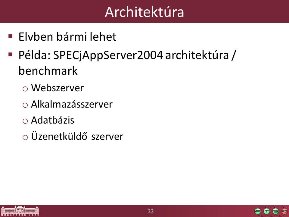 33 Architektúra  Elvben bármi lehet  Példa: SPECjAppServer2004 architektúra / benchmark o Webszerver o Alkalmazásszerver o Adatbázis o Üzenetküldő szerver