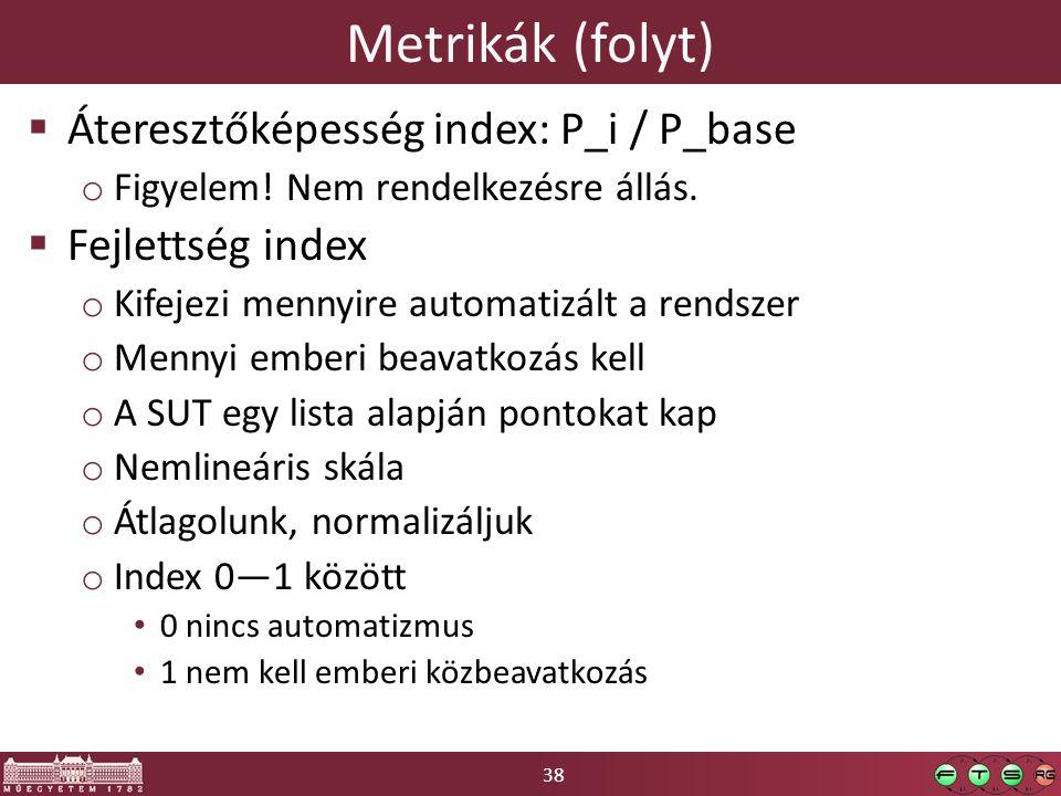 38 Metrikák (folyt)  Áteresztőképesség index: P_i / P_base o Figyelem.