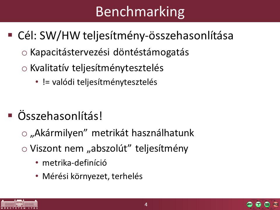 4 Benchmarking  Cél: SW/HW teljesítmény-összehasonlítása o Kapacitástervezési döntéstámogatás o Kvalitatív teljesítménytesztelés != valódi teljesítménytesztelés  Összehasonlítás.