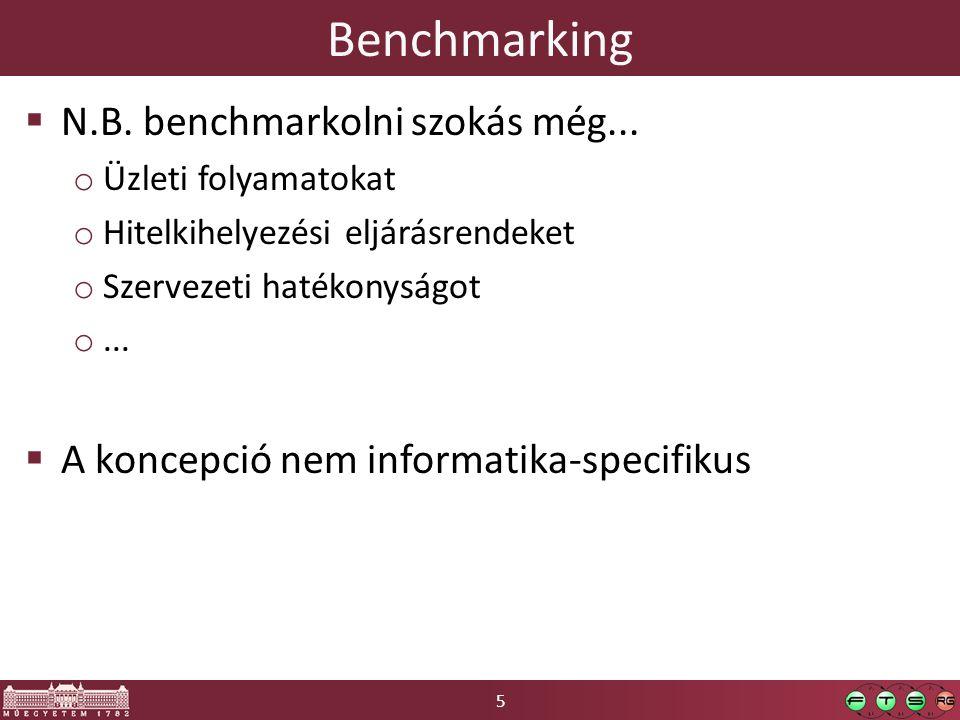 6 Benchmark terminológia  Macrobenchmark o nagy összetett alkalmazás/szolgáltatás o relevancia biztosításával közvetlenül használható eredményeket ad  Microbenchmark o alkalmazás kis része/adott kódrészlet  Nanobenchmark o atomi műveletek teljesítménymérése