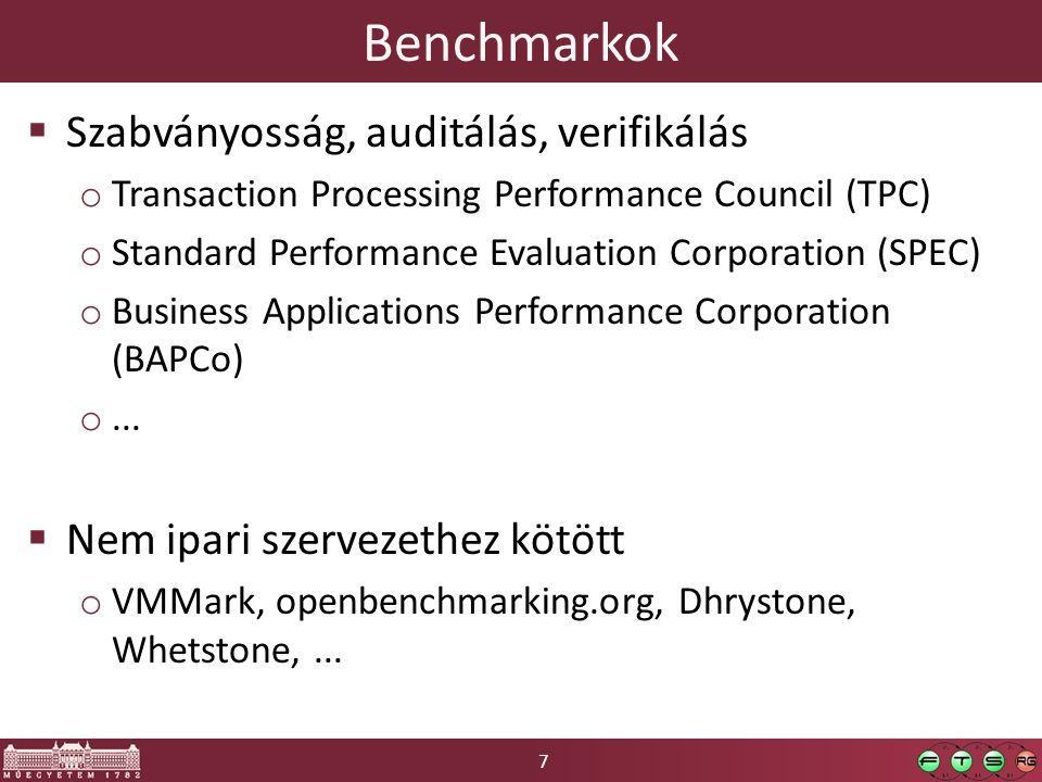 """8 TPC Benchmarkok  TPC-C o kereskedelmi jellegű adatbázis-tranzakciók + felhasználó- populáció o Tranzakció-ráta: tpmC, $/tpmC  TPC-E o OLTP, """"brokerage firm o tps  TPC-H o Döntéstámogatási rendszerek o """"TPC-H Composite Query-per-Hour Performance Metric (QphH@Size)  TPC-Energy o Additív opcionális benchmark  Obsolete: TPC-A, TPC-B, TPC-D, TPC-R, TPC-W, TPC-App"""