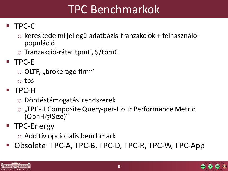 """19 SPECvirt_sc2010  2009Q4: a szerverek 18%-a virtualizált  Skálázhatóság / energiahatékonyság o """"Hány VM konszolidálható egy hosztra?  1 """"tile : 6 VM  Munkaterhelés o Tile-ok számának növelése telítődésig / QoS határig  Metrika o komponensek normalizált áteresztőképesség-metrikái"""