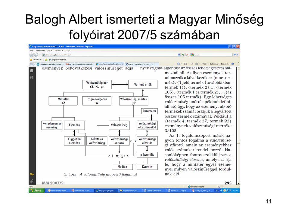 11 Balogh Albert ismerteti a Magyar Minőség folyóirat 2007/5 számában
