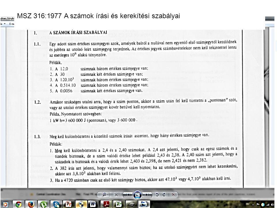 14 MSZ 316:1977 A számok írási és kerekítési szabályai