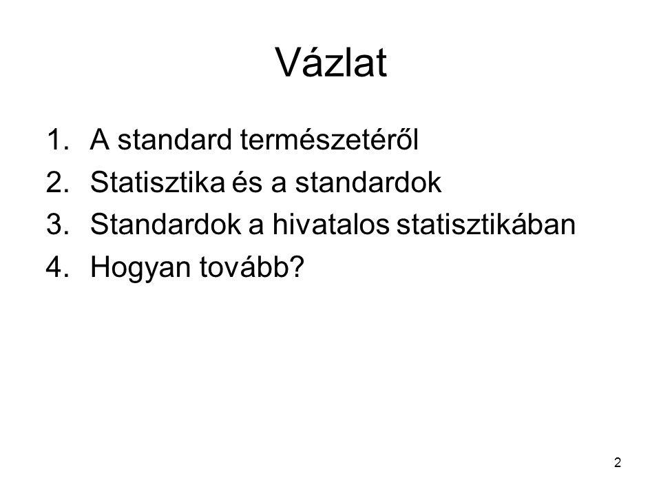 2 Vázlat 1.A standard természetéről 2.Statisztika és a standardok 3.Standardok a hivatalos statisztikában 4.Hogyan tovább?
