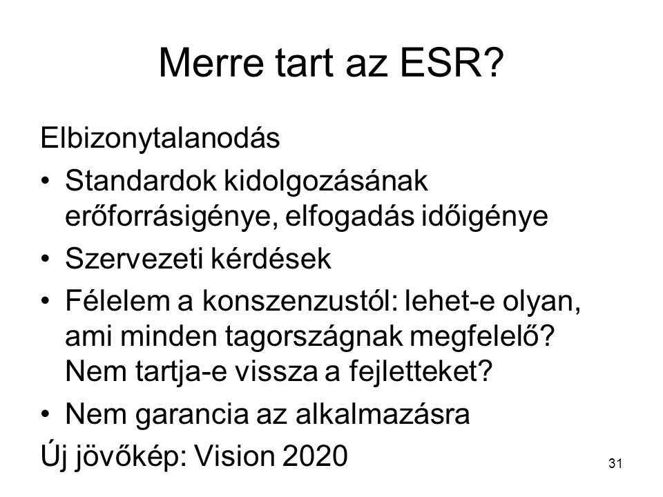 Merre tart az ESR? Elbizonytalanodás Standardok kidolgozásának erőforrásigénye, elfogadás időigénye Szervezeti kérdések Félelem a konszenzustól: lehet