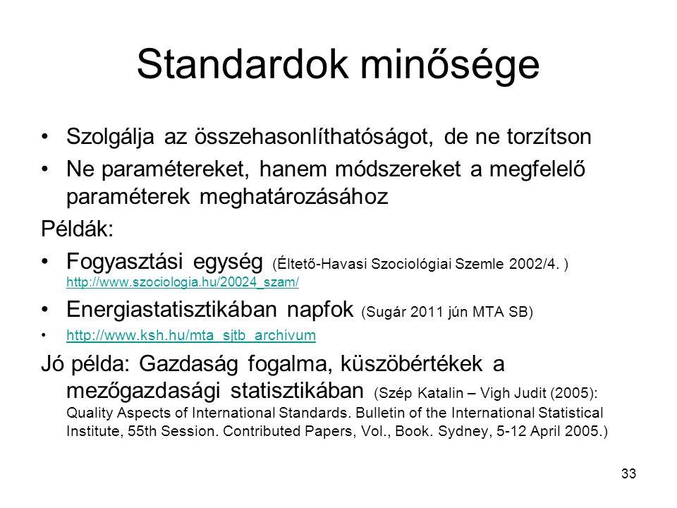 Standardok minősége Szolgálja az összehasonlíthatóságot, de ne torzítson Ne paramétereket, hanem módszereket a megfelelő paraméterek meghatározásához