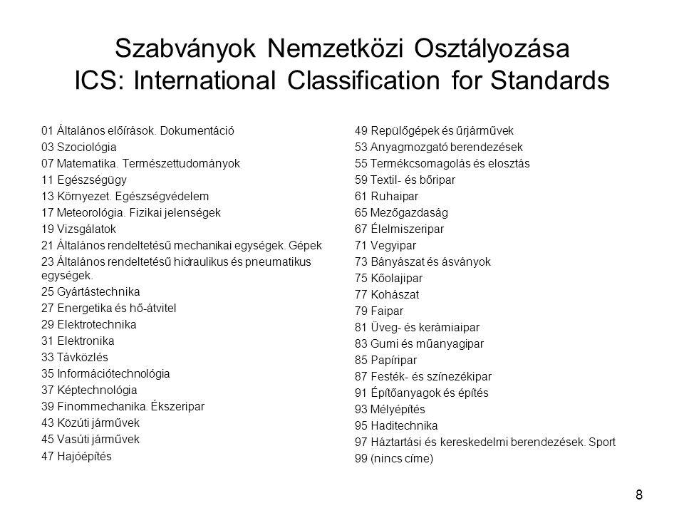 Szabványok Nemzetközi Osztályozása ICS: International Classification for Standards 01 Általános előírások. Dokumentáció 03 Szociológia 07 Matematika.