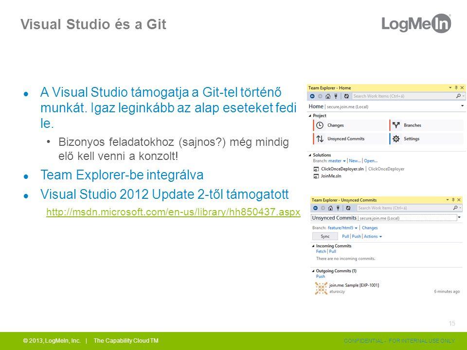 Visual Studio és a Git ● A Visual Studio támogatja a Git-tel történő munkát. Igaz leginkább az alap eseteket fedi le. Bizonyos feladatokhoz (sajnos?)