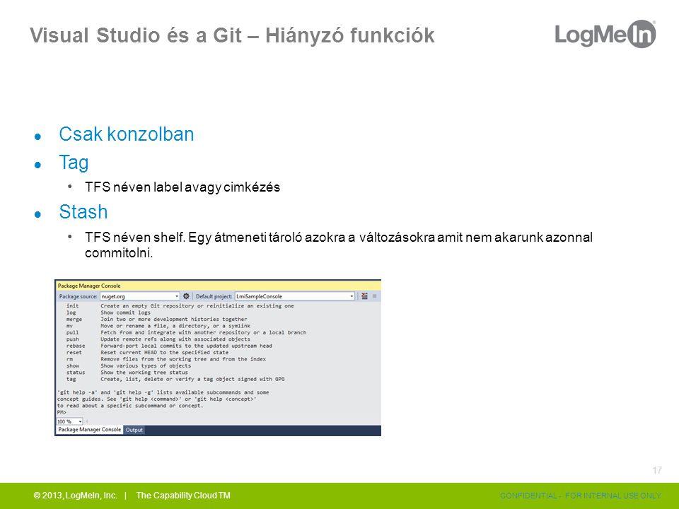 Visual Studio és a Git – Hiányzó funkciók ● Csak konzolban ● Tag TFS néven label avagy cimkézés ● Stash TFS néven shelf. Egy átmeneti tároló azokra a
