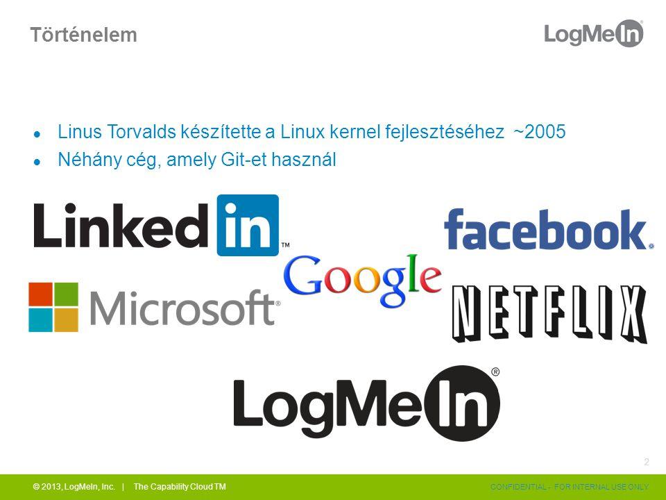 Történelem ● Linus Torvalds készítette a Linux kernel fejlesztéséhez ~2005 ● Néhány cég, amely Git-et használ © 2013, LogMeIn, Inc.