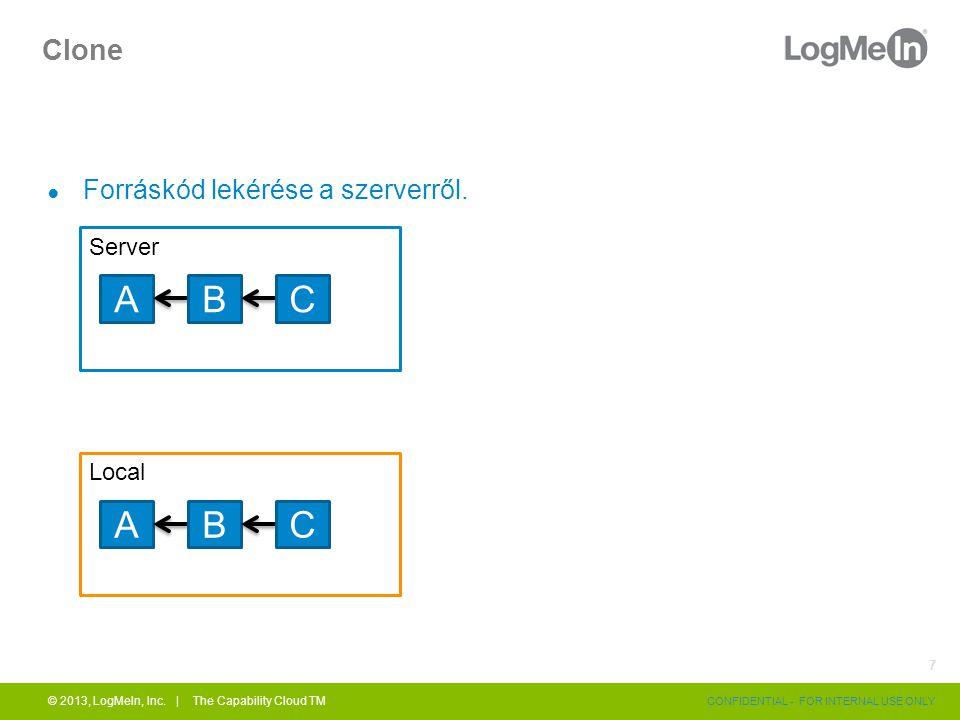 Clone ● Forráskód lekérése a szerverről. © 2013, LogMeIn, Inc. | The Capability Cloud TM CONFIDENTIAL - FOR INTERNAL USE ONLY 7 Server ABC Local ABC
