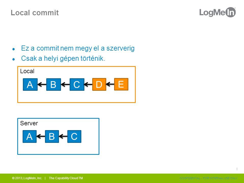 Local commit ● Ez a commit nem megy el a szerverig ● Csak a helyi gépen történik. © 2013, LogMeIn, Inc. | The Capability Cloud TM CONFIDENTIAL - FOR I
