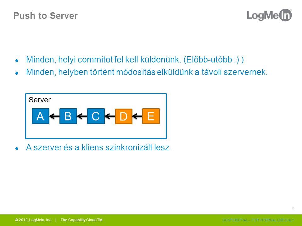Push to Server ● Minden, helyi commitot fel kell küldenünk. (Előbb-utóbb :) ) ● Minden, helyben történt módosítás elküldünk a távoli szervernek. ● A s