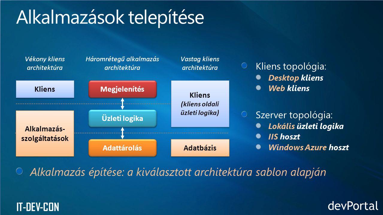 IT-DEV-CON Vékony kliens architektúra Háromrétegű alkalmazás architektúra Vastag kliens architektúra Megjelenítés Üzleti logika Adattárolás Kliens Alkalmazás- szolgáltatások Kliens (kliens oldali üzleti logika) Kliens (kliens oldali üzleti logika) Adatbázis Alkalmazás építése: a kiválasztott architektúra sablon alapján
