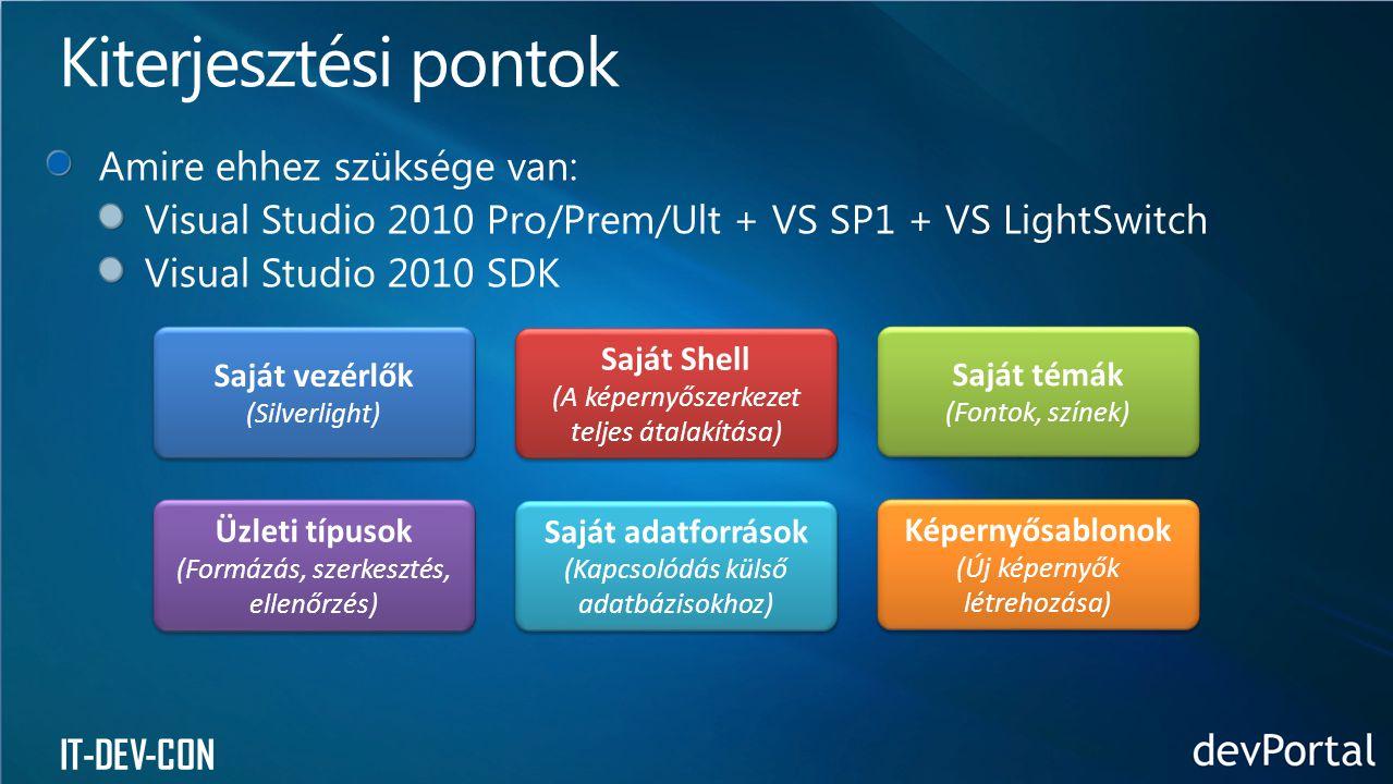 IT-DEV-CON Saját vezérlők (Silverlight) Saját vezérlők (Silverlight) Saját Shell (A képernyőszerkezet teljes átalakítása) Saját Shell (A képernyőszerkezet teljes átalakítása) Saját témák (Fontok, színek) Saját témák (Fontok, színek) Üzleti típusok (Formázás, szerkesztés, ellenőrzés) Üzleti típusok (Formázás, szerkesztés, ellenőrzés) Saját adatforrások (Kapcsolódás külső adatbázisokhoz) Saját adatforrások (Kapcsolódás külső adatbázisokhoz) Képernyősablonok (Új képernyők létrehozása) Képernyősablonok (Új képernyők létrehozása)